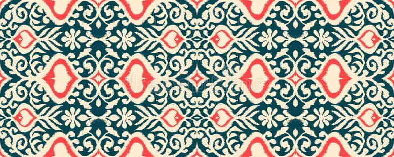 Ikat geometrisk folkloreprydnad Damast modell för orientalisk vektor royaltyfri illustrationer