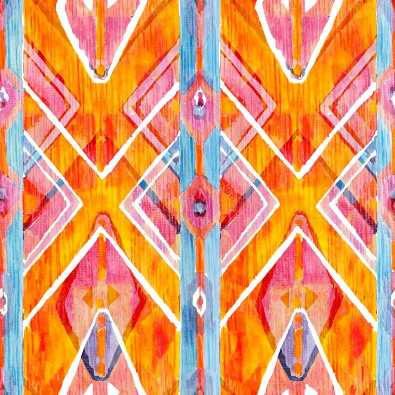 Ikat geometrisk röd och orange autentisk modell i akvarellstil Sömlös vattenfärg royaltyfri bild