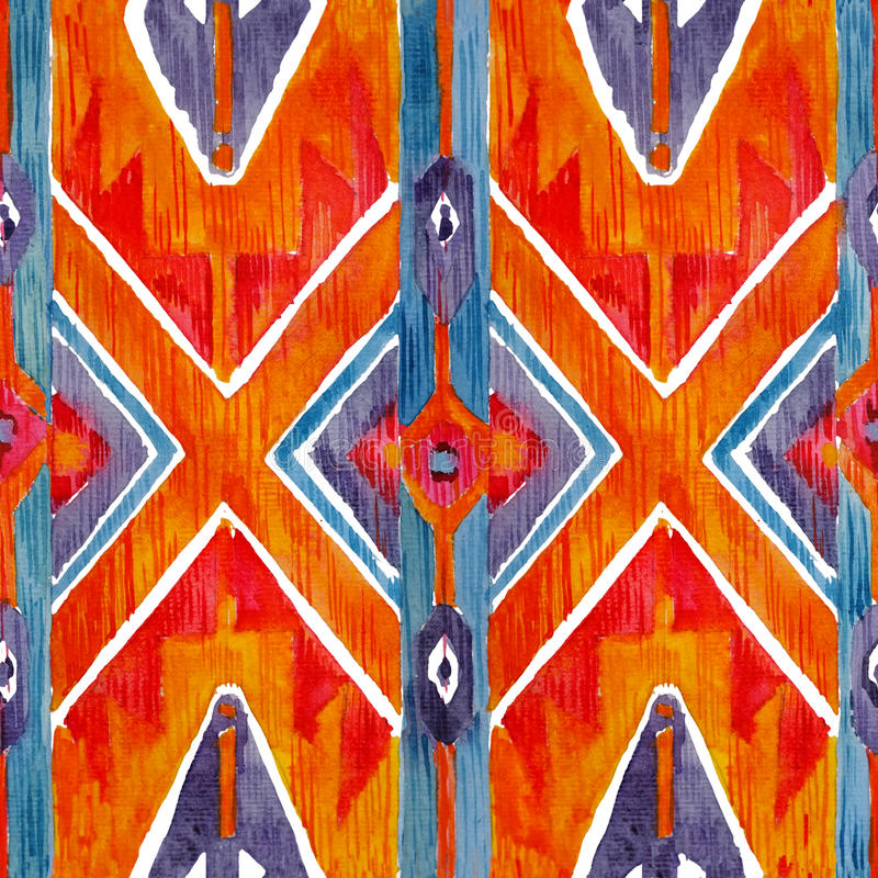 Ikat geometrisk röd och orange autentisk modell i akvarellstil Sömlös vattenfärg stock illustrationer