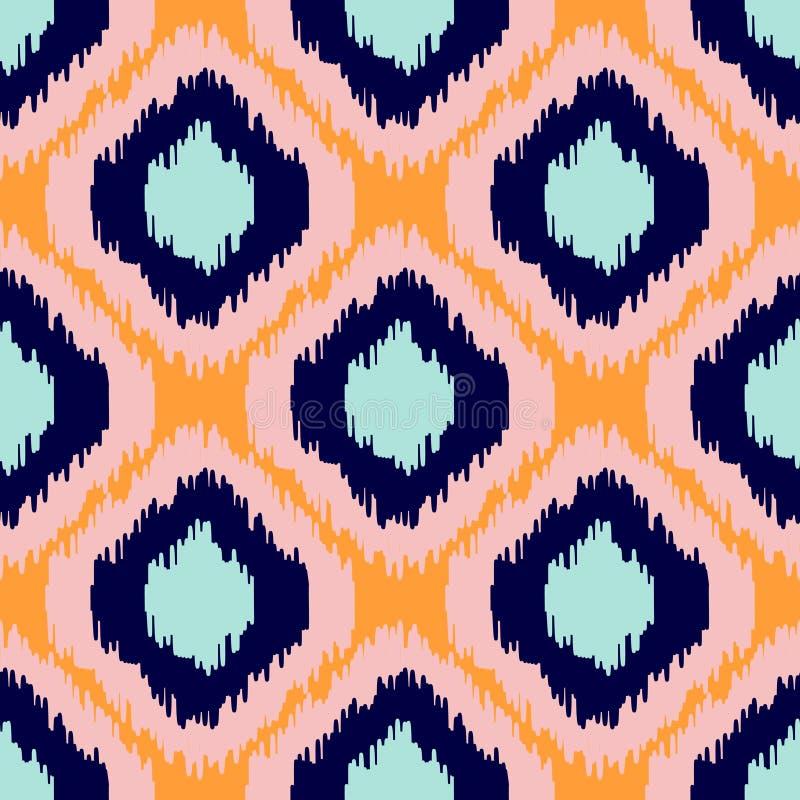 Ikat geometrisk sömlös modell Apelsin- och blåttsamling royaltyfri illustrationer