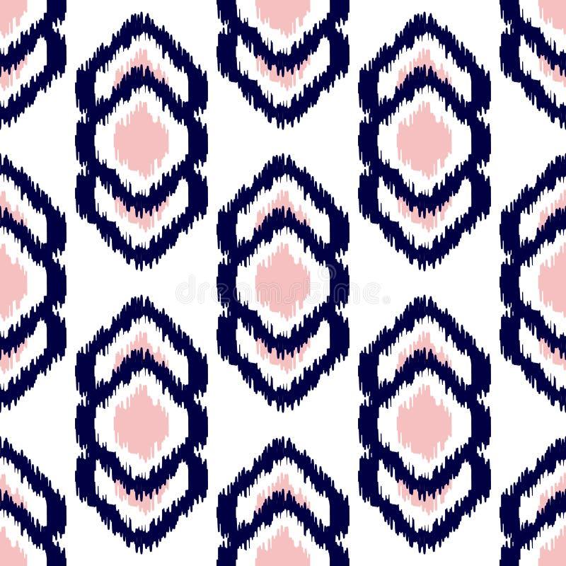 Ikat geometrisk sömlös modell Rosa färg- och blåttsamling royaltyfri illustrationer