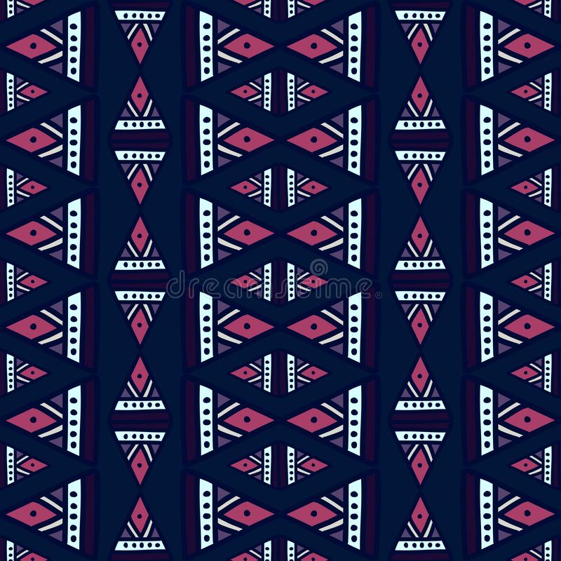 Ikat geometryczny wz?r z plemienn? t?o wektoru tekstur? Bezszwowy pasiasty motyw w azteka symbolu R?ka rysuj?cy etniczny z royalty ilustracja