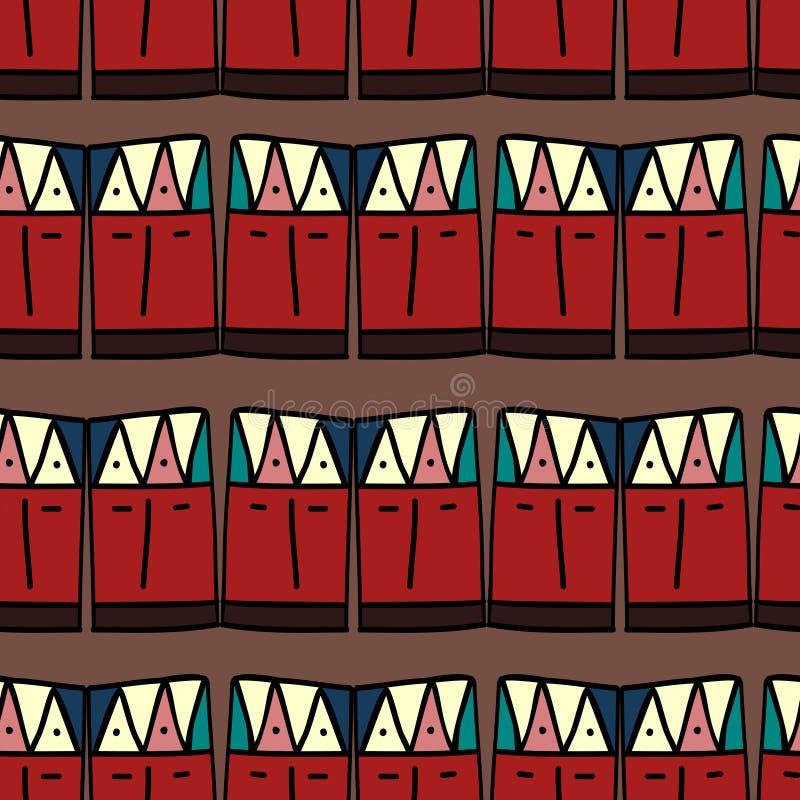 Ikat geometryczny wz?r z plemienn? t?o wektoru tekstur? Bezszwowy pasiasty motyw w azteka symbolu R?ka rysuj?cy etniczny z ilustracja wektor