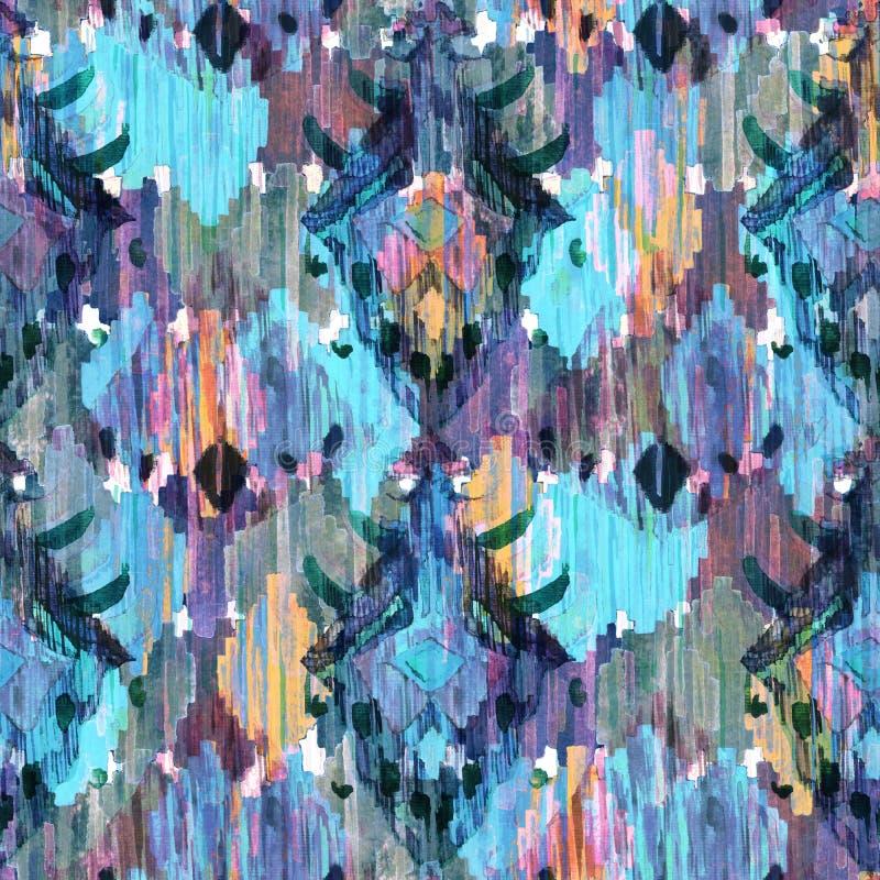 Ikat naadloos Boheems etnisch patroon in watercolourstijl stock illustratie