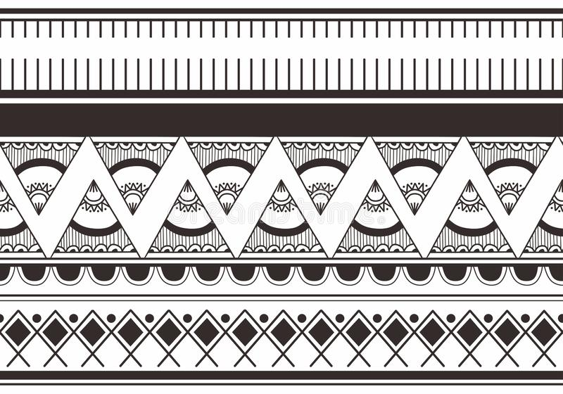 Ikat Navajo tribal seamless pattern. navajo culture background ready for fashion textile print vector illustration black and white royalty free illustration