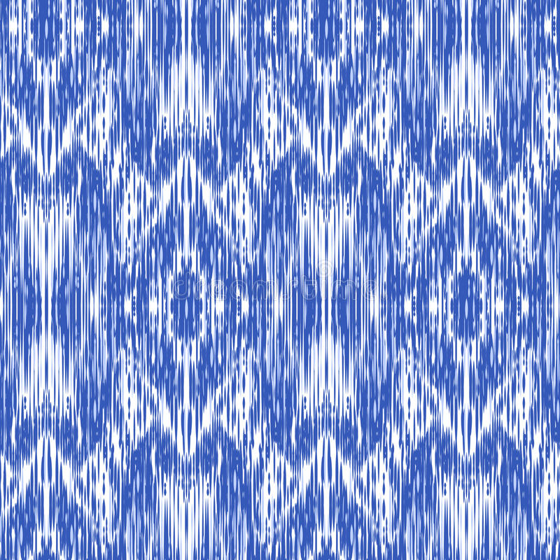 Ikat Ogee Background 95. Seamless pattern Tribal Art Ikat Ogee in traditional classic blue and white colors. Boho style stock image