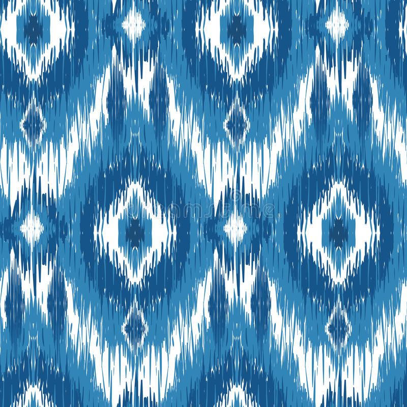 Ikat Ogee Background 90. Seamless pattern Tribal Art Ikat Ogee in traditional classic blue and white colors. Boho style stock photography