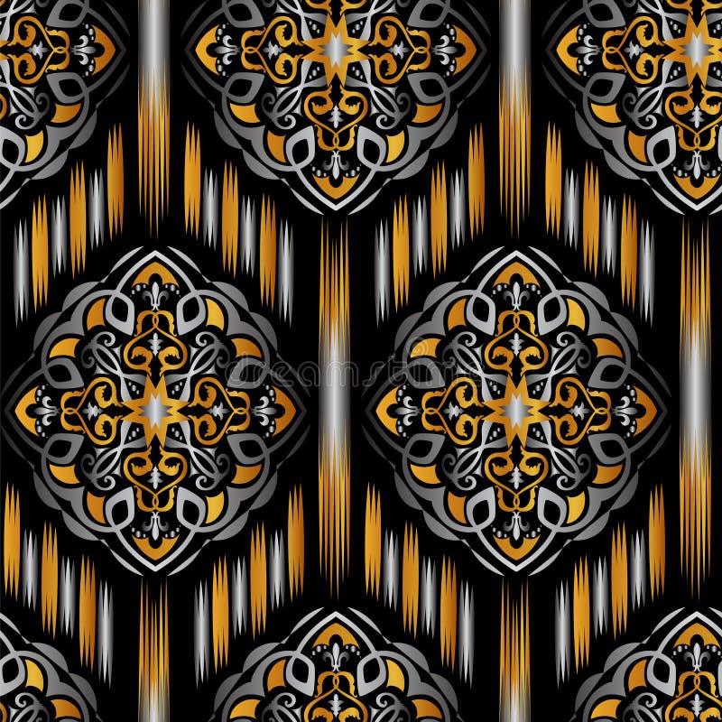 Ikat Ogee bakgrund vektor illustrationer