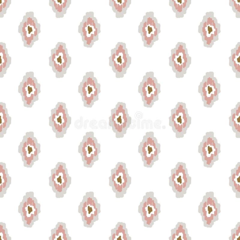 Ikat-ogee hellrosa Hintergrund nahtlosen Musters stock abbildung