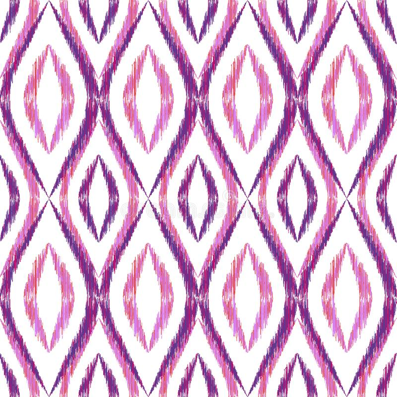 Ikat ogee seamless vector pattern illustration stock illustration