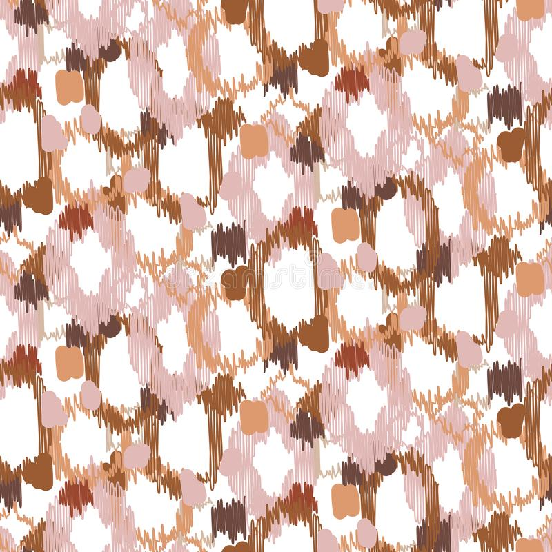 Ikat random spot shapes seamless background. Vector illustration. stock illustration