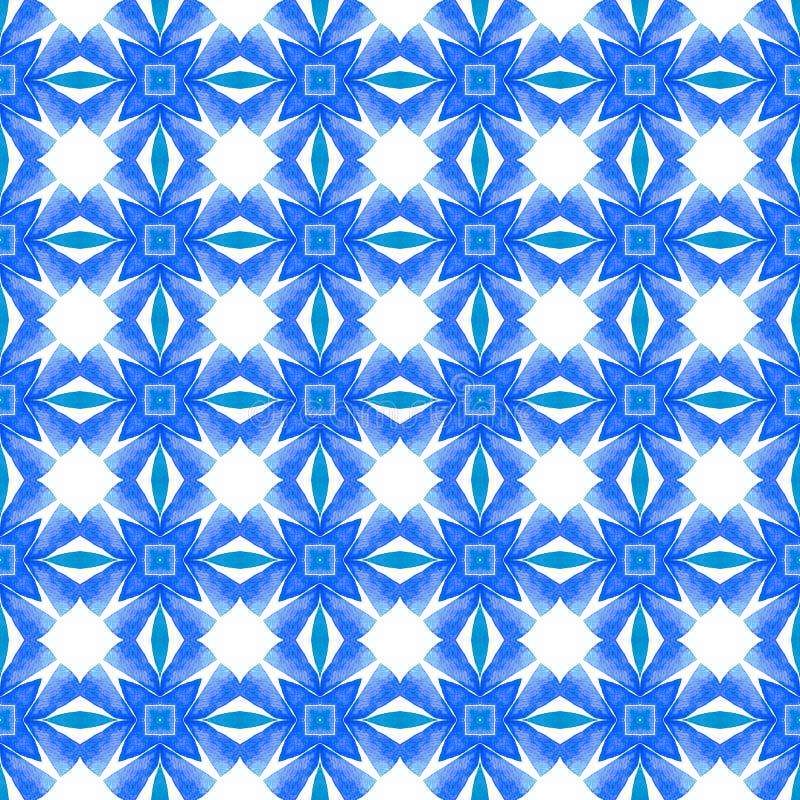 Ikat repeating  swimwear design. Blue beauteous royalty free stock photography