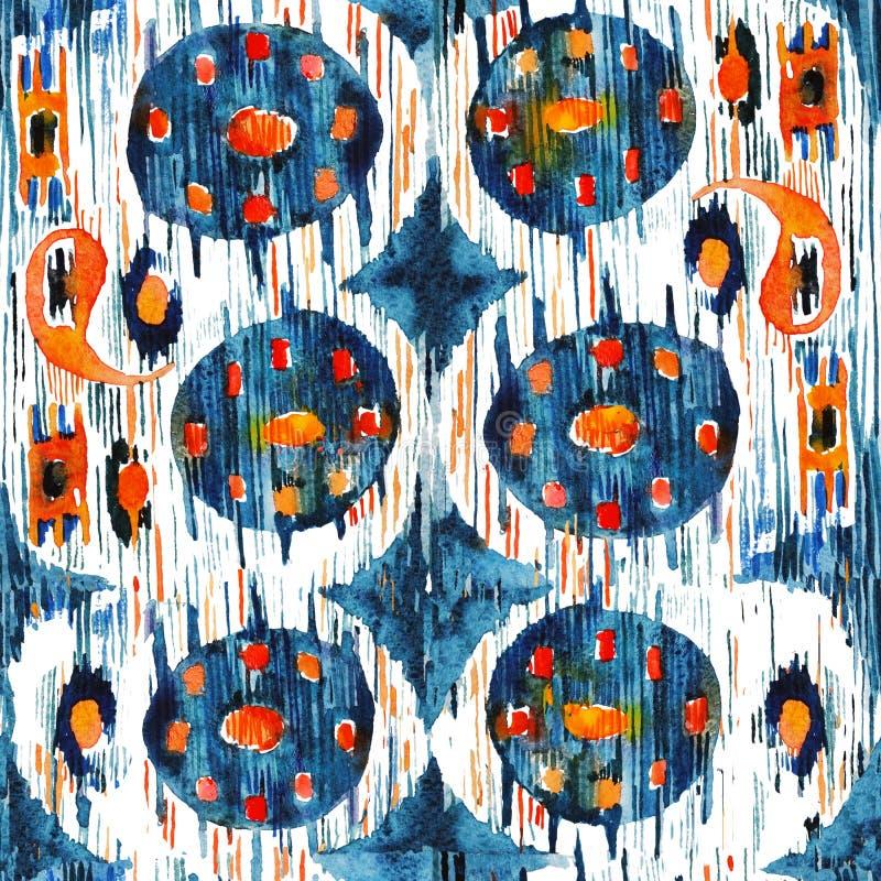 Ikat sömlös bohemisk etnisk modell i akvarellstil Orientaliska prydnader för vattenfärg stock illustrationer