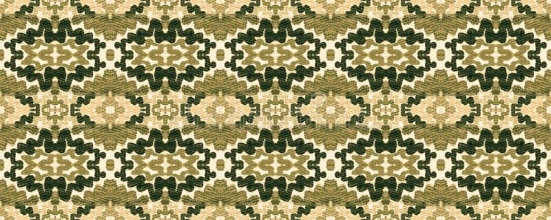 Ikat Seamless Pattern. Allover Organic Swimwear Design. Geo Ogee Tile.  Ogee Seamless Texture. Ikat Pattern. Aztec Geometric Textile Border Psychedelic Rainbow stock illustration