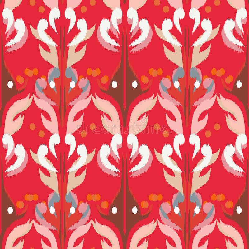 Ikat seamless pattern as cloth, curtain, textile design, wallpa vector illustration
