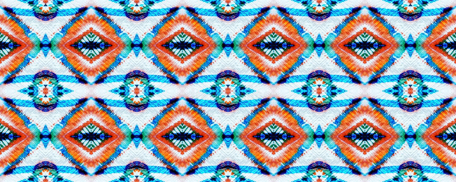 Ikat Seamless Pattern. Aztec Geometric Textile Border Ogee Seamless Texture. Ikat Pattern. Psychedelic Rainbow Watercolor Hand Drawn Textile. Creative Navajo royalty free stock images
