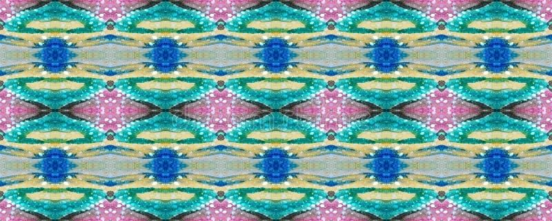 Ikat Seamless Pattern. Ogee Seamless Texture. Ikat Pattern. Aztec Geometric Textile Border Psychedelic Rainbow Allover Organic Swimwear Design. Geo Ogee Tile stock illustration