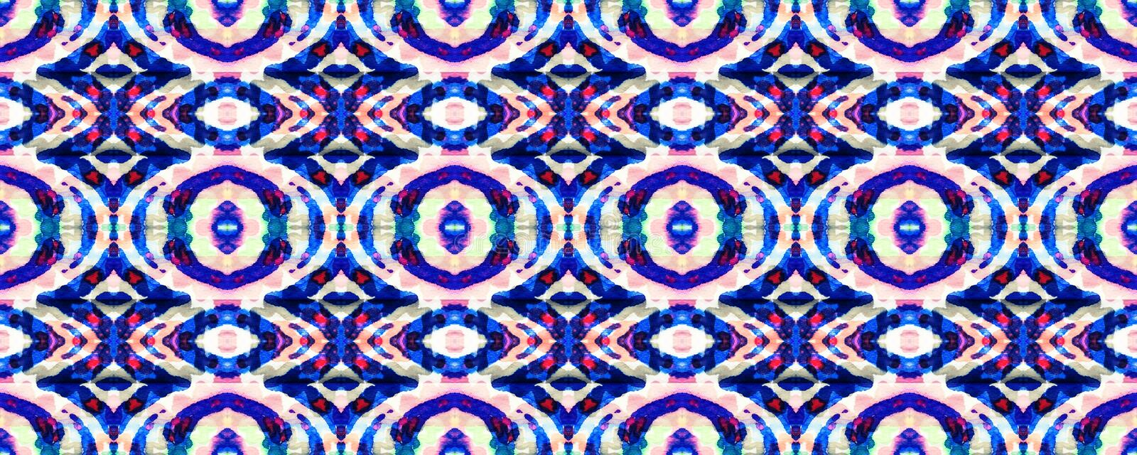 Ikat Seamless Pattern. Ogee Seamless Texture. Ikat Pattern. Aztec Geometric Textile Border Psychedelic Rainbow Watercolor Hand Drawn Textile. Creative Navajo royalty free illustration
