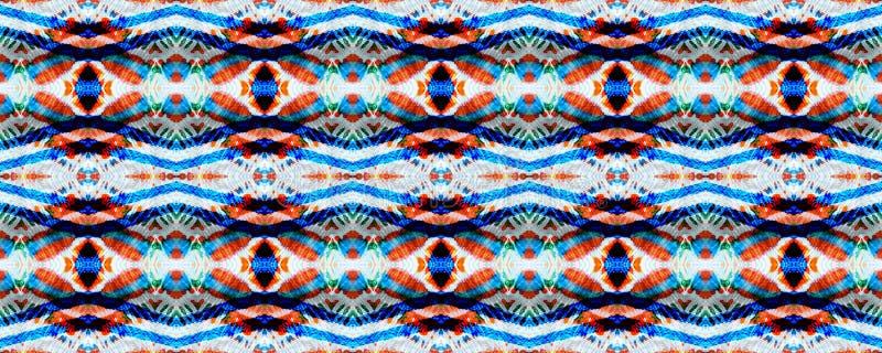 Ikat Seamless Pattern. Ogee Seamless Texture. Ikat Pattern. Aztec Geometric Textile Border Allover Organic Swimwear Design. Geo Ogee Tile.  Watercolor Hand stock illustration