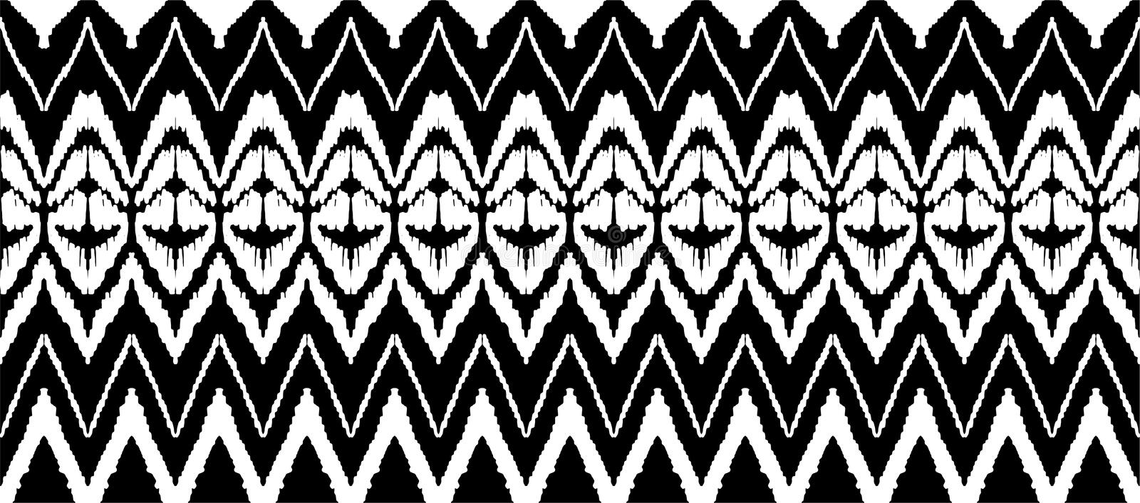 Ikat seamless pattern. Vector tie dye shibori print with stripes and chevron. Ink textured japanese background. royalty free illustration