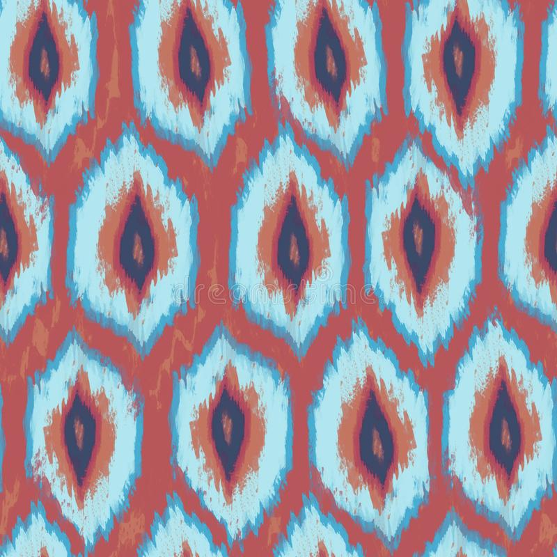 Ikat textile seamless pattern. Watercolor ethnic motifs: rhombic ornament. Ink textured background. Hand painted illustration for bohemian fabric fashion royalty free illustration