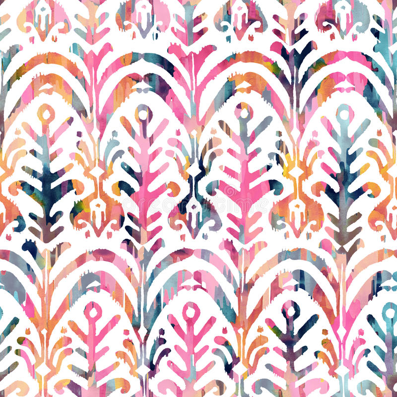 Ikat watercolor seamless pattern. Floral vibrant watercolour . Ikat watercolor seamless pattern. Floral vibrant watercolour ikat pattern royalty free stock photography