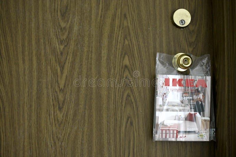 Ikea Catalogue. New Ikea Catalogue delivered at the door - mail marketing stock photo