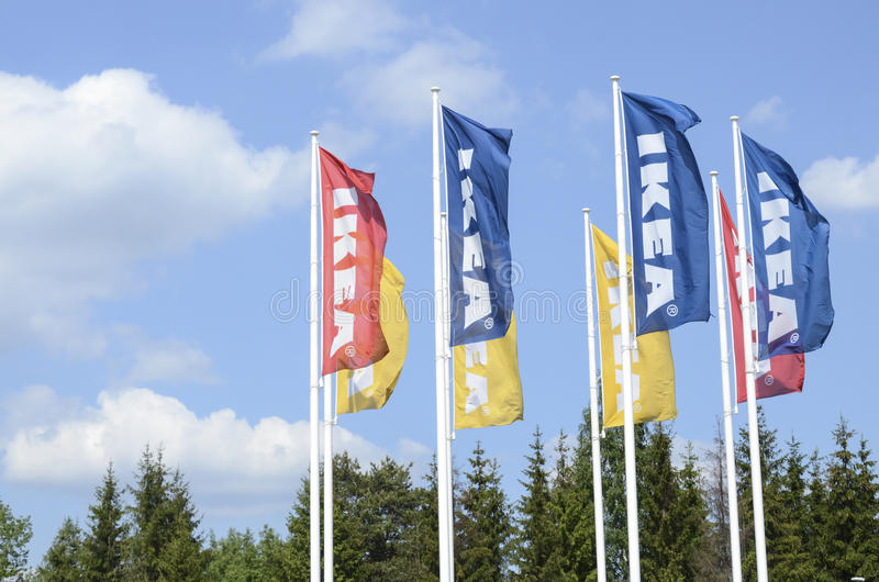 IKEA flags. Shot of Ikea flags. IKEA (Ingvar Kamprad Elmtaryd Agunnaryd) is a privately held, Swedish international home products company that designs and sells stock photo