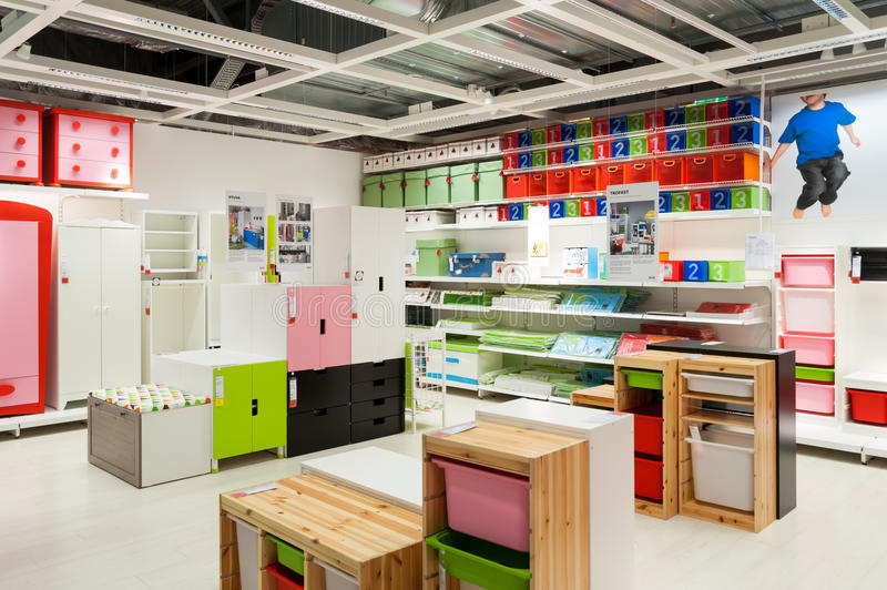 Ikea furniture store kids zone. Interior of kids furniture zone in Ikea store in Vilnius, Lithuania (opened in 2013 royalty free stock photos