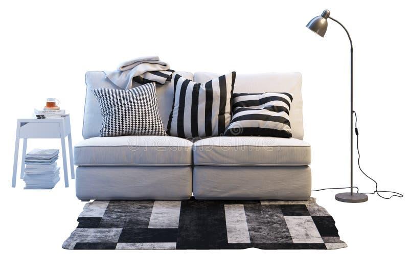 Download Ikea Kivik Sofa. Ikea Furniture Set Stock Illustration    Illustration Of Sofa, Blanket