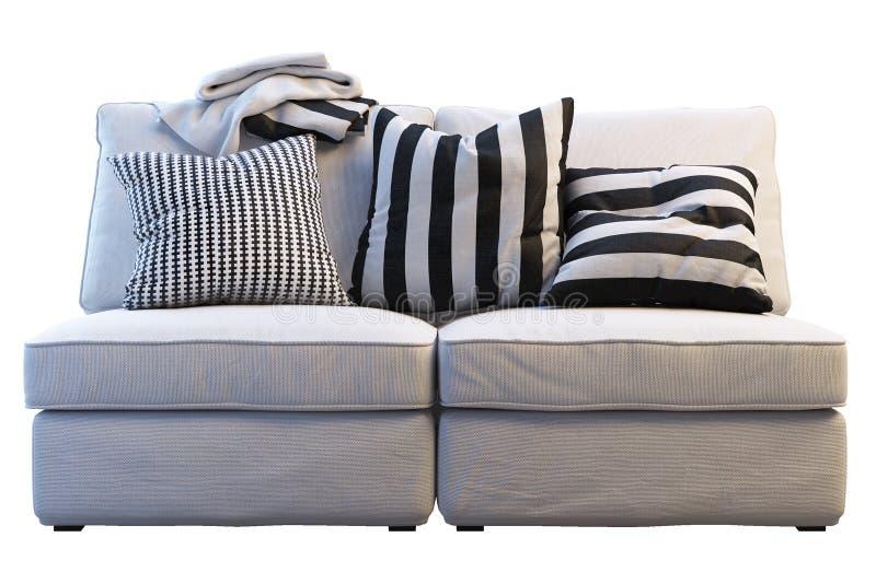 Ikea-kivik Sofa mit Plaids und Kissen lizenzfreie stockfotografie