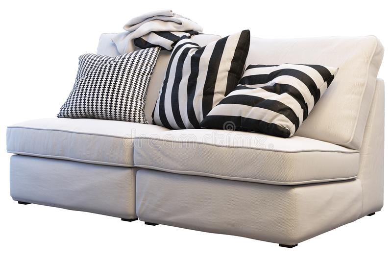 Ikea-kivik Sofa mit Plaids und Kissen stockbild
