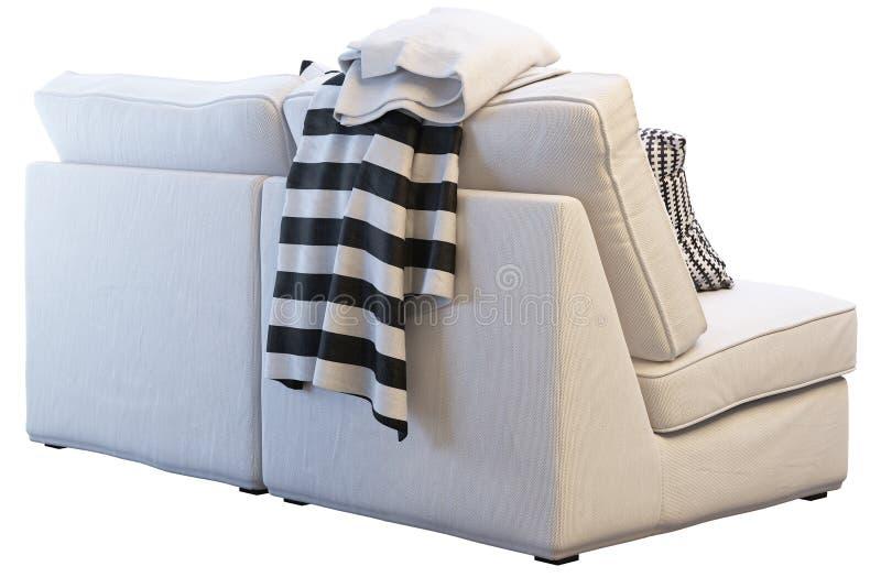 Ikea-kivik Sofa mit Plaids und Kissen lizenzfreies stockfoto