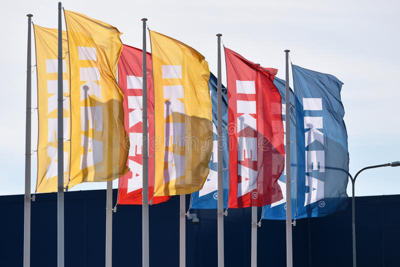 IKEA Logo on flag in Vilnius. Vilnius, Lithuania - April 18: IKEA Logo on flag in Vilnius on April 18, 2019. IKEA is a large furniture retailer and sells royalty free stock image