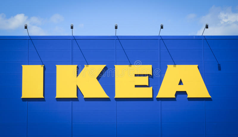 Ikea logo. Shot of Ikea store logo. IKEA (Ingvar Kamprad Elmtaryd Agunnaryd) is a privately held, Swedish international home products company that designs and royalty free stock images
