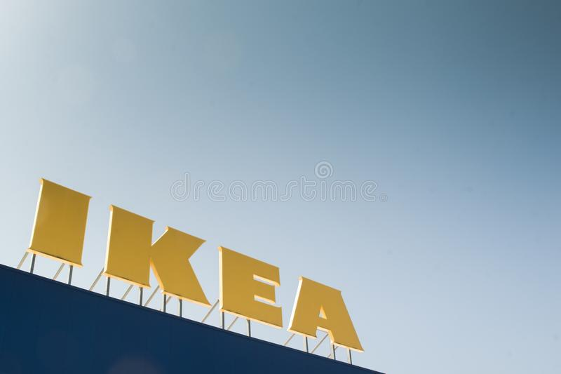 IKEA logo on top of a store. PISA, IT - APRIL, 19 2018; IKEA store logo in Pisa, Italy stock photo