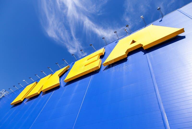 IKEA logo. Ikea is the world's largest furniture retailer stock photo