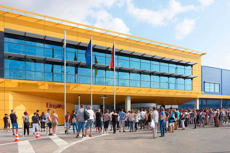 Ikea in Magdeburg. Visitors in front of the new Ikea branch in Magdeburg, just a few minutes before the opening royalty free stock photos