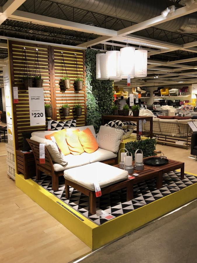 Ikea store. Ikea is retailer store of fine home furnishings, such as sofa`s, love seats and kitchen sets. The Swedish company is the world`s largest furniture stock images