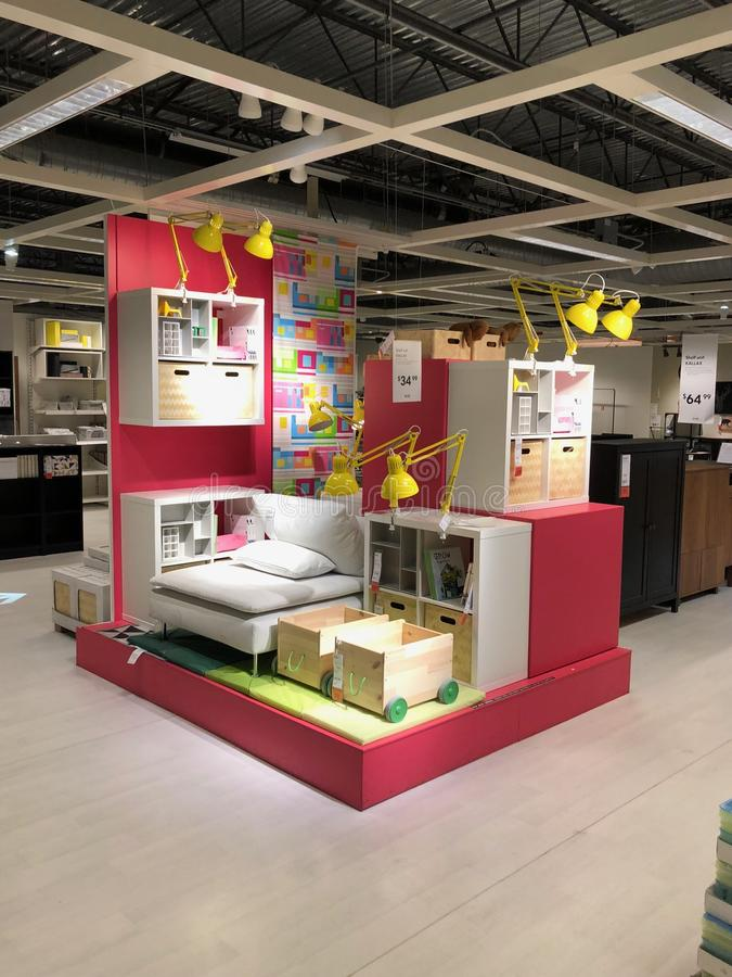 Ikea store. Ikea is retailer store of fine home furnishings, such as sofa`s, love seats and kitchen sets. The Swedish company is the world`s largest furniture royalty free stock photography