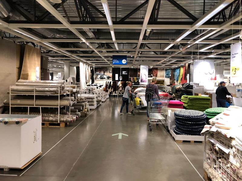 Ikea store. Ikea is retailer store of fine home furnishings, such as sofa`s, love seats and kitchen sets. The Swedish company is the world`s largest furniture stock image