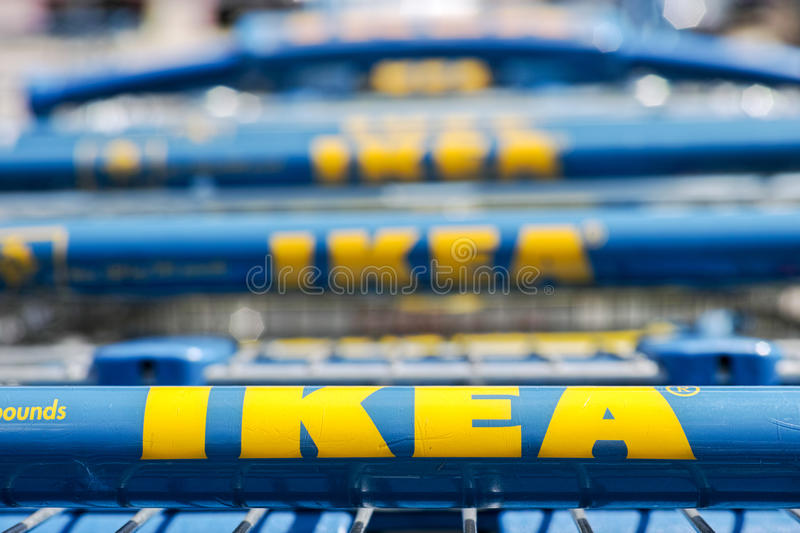 Ikea shopping carts. Focus on the bottom, copy space above stock photography