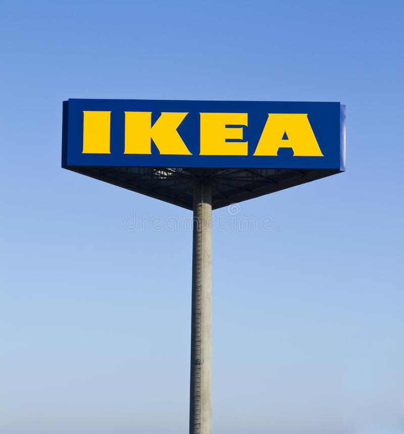 Ikea sign. Typical sign of an Ikea warehouse stock images