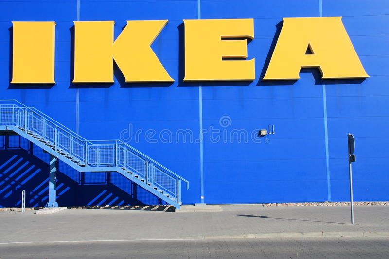 Ikea store. Shot of Ikea store logo. IKEA (Ingvar Kamprad Elmtaryd Agunnaryd) is a privately held, Swedish international home products company that designs and stock images