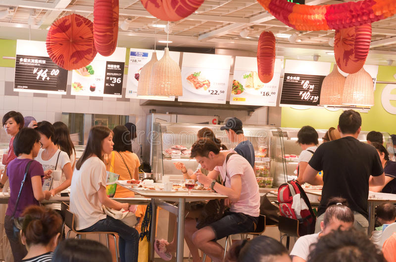 Ikea store. Gungzhou, China - August 12, 2012: Shot of Ikea store coffee shop food area. IKEA (Ingvar Kamprad Elmtaryd Agunnaryd) is a privately held, Swedish stock photos