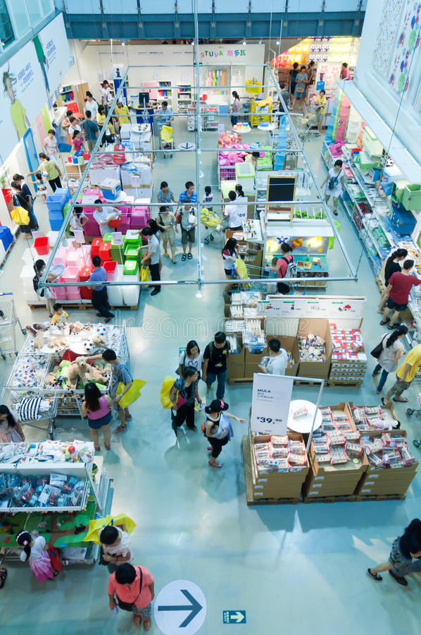 Ikea store. Gungzhou, China - August 12, 2012: Shot of Ikea store from wide high angle sales area. IKEA (Ingvar Kamprad Elmtaryd Agunnaryd) is a privately held royalty free stock photos