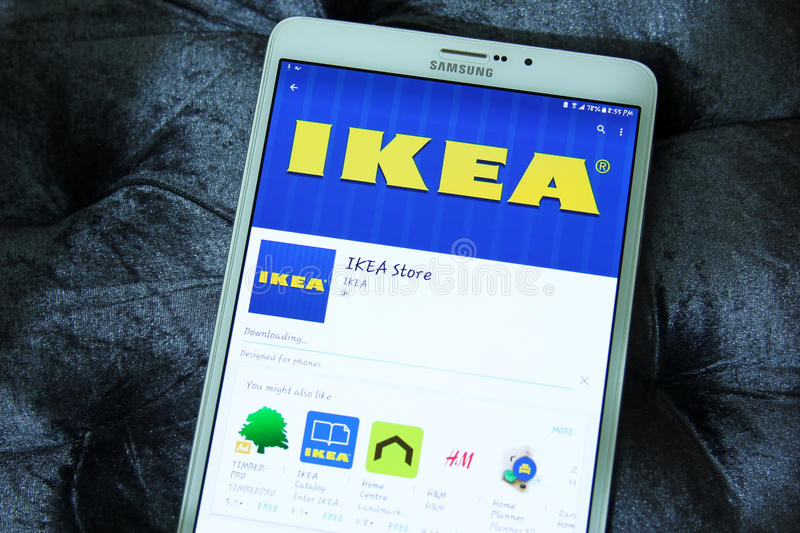 Ikea store app. Downloading Ikea store application from google play store on samsung tablet stock images