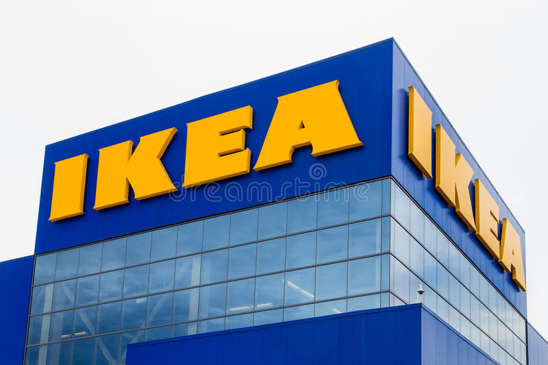 Ikea Store Exterior. BLOOMINGTON, MN/USA - JUNE 22, 2014: Ikea store exterior. Ikea is a Swedish company that designs and sells ready-to-assemble furniture stock image
