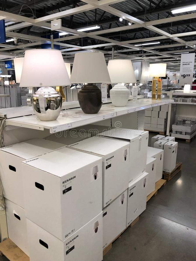 Ikea store. Ikea is retailer store of fine home furnishings, such as sofa`s, love seats and kitchen sets. The Swedish company is the world`s largest furniture royalty free stock image