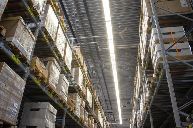 IKEA warehouse in the IKEA store. Duiven, Netherlands - May 24, 2019: IKEA warehouse in the IKEA store to pick up the purchased goods royalty free stock photography